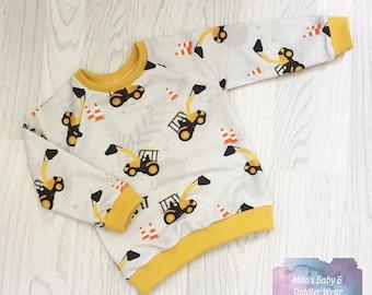 Digger Print Raglan Sweater - Jumper Jacket Pull Over mustard builder gift baby shower birthday Milos Baby and Toddler Wear Milo's