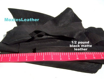 Black leather pieces remnants only black crafts,half a pound of leather remnants