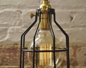 Metal Bulb Guard Brass On/Off Switch Lamp Light Cage Pendant Hanging  Vintage Cage