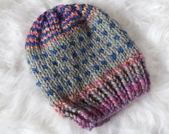 Gray and Pink Slouchy Beanie