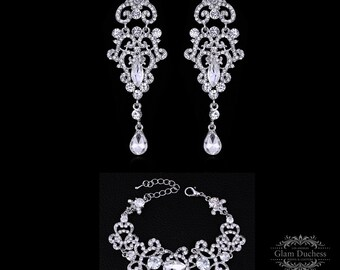Bridal earrings, Bridal bracelet, Bridal jewelry set, Wedding jewelry set, zircon crystal earrings, Prom earrings,Vintage inspired earrings