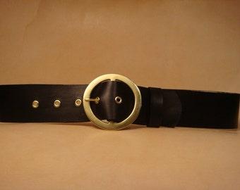 """Santa Belt - Leather Santa Belt - 2-3/4"""" Black Belt for Santa Claus"""