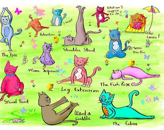Yoginis, Yoga Cats, cats illustration enjoying a yoga class on the grass, wall art print with butterflies and little easter chicks