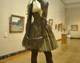 To Degas, with Love - Fine art photograph - ballet dancer, satin ribbon - bronze sculpture - poetic inspiration - golden, taupe, sage