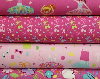 Pink Ballerina Bow Bundle From Riley Blake- 4 Fabrics