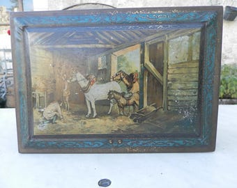 French vintage 1920's toffee tin depicting farm scenes.