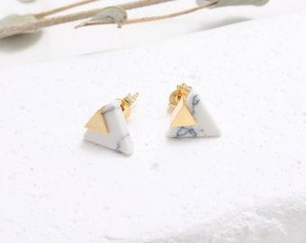 White Howlite Triangle Stud Earrings, Arrow White Marble Stud Earrings