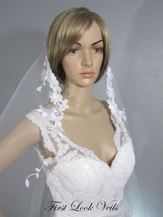 White Bridal Veil, Wedding Veil, Mantilla Veil, Floral Veil, Wedding Veil, Cathedral Veil, Lace Veil, Handmade, Long Veil, Embelished Veil