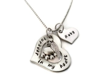"Personalized Pet Memorial Necklace, Hand Stamped Necklace for Women or Men ""forever in my heart"" with paw print and angel wing"