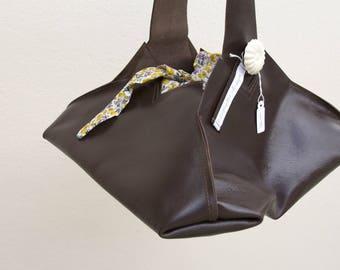 Genuine dark brown leather and liberty backpack handbag