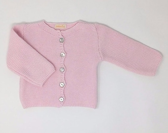 Baby Cardigan Pink | 100% Cotton | Knitwear
