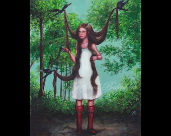 Magpie, Art Print, Dark Forest, Birds, Long Hair, Fairy Tale, Folk Tale, Build a Nest, Red Boots, White Dress, Superstitions, Macabre Art