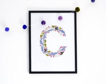 Letter 'C' Art Print, Signed Initial Illustration
