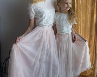 Tulle Baby Mommy Matching Skirt Top set, Mom and Me skirts, Long Tulle Skirt, Twinning, Mommy baby matching, Lace Crop Top