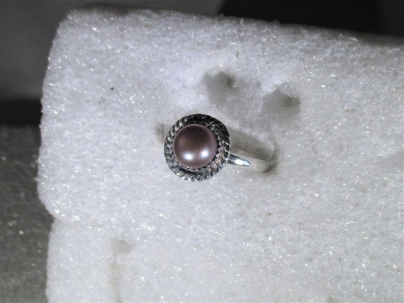 genuine freshwater cultured lavender pearl handmade sterling silver statement ring size 7