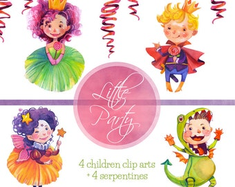 Watercolor Kids  Clip art Party, birthday party watercolor clip art/ children party clipart/ watercolor kids party/ children art