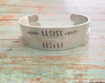 Resist Cuff Bracelet, Resist Jewelry, Feminist Bracelet, Feminism Jewelry, Solidarity Bracelet, Resistance Jewelry, Womens March Jewelry