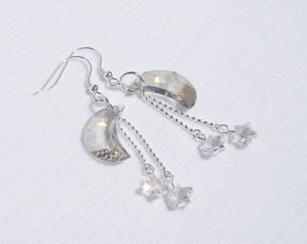 Swarovski crystal moon and stars and sterling silver earrings
