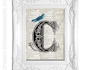 C Letter Initial Monogram art print wall decor on vintage dictionary text book page with Beautiful Blue Bird Victorian Edwardian Ornate 5x7