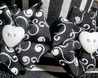 Black and White swirly heart bow