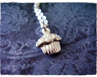 Tiny Muffin Necklace - Sterling Silver Muffin Charm on a Delicate Sterling Silver Cable Chain or Charm Only