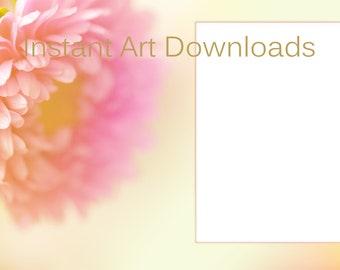 Invitation, Portrait frame, Pink flower, Announcement, Yellow background, Digital download, Instant Art, Printable, Spring stationary, Art
