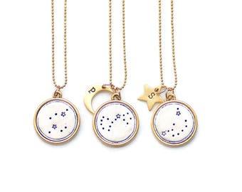 Celestial Necklace, Zodiac Jewelry,Constellation Necklace,Celestial Jewelry,Zodiac Gift,Pisces,Aries,Taurus,Gemini,Cancer, Leo,Virgo,Libra
