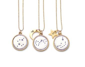 Zodiac Jewelry, Constellation Necklace, Zodiac Gift,Pisces, Aries,Taurus,Gemini,Cancer, Leo,Virgo,Libra,Scorpio,Sagittarius,Bridesmaid gift