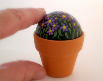 SHIPS FREE-Painted rocks-miniature painting-fairy garden potted plant-Mothers Day gift-spring gift ideas-daisy-amethyst lavender-OOAK 3D art