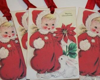 Natale dell'annata brillava ragazza regalo Tag