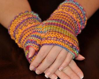 Fingerless Gloves - Adult Small - Medium Gloves - Wristlet Style Gloves - Vibrant Fall Colors - Handmade Gloves - Handwarmers