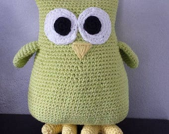 Olly green pistachio, 100% cotton. Customizable. Birth gift birthday gift. The OWL enthusiast.
