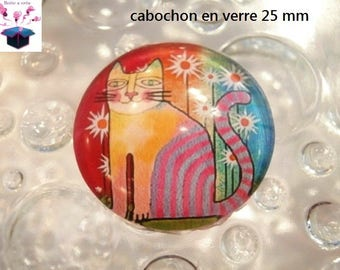 1 cabochon clear 25 mm naive cat theme