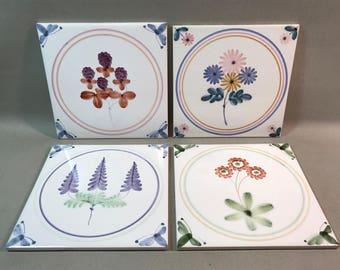 Ceramic Flower Tiles British Italian Four Available