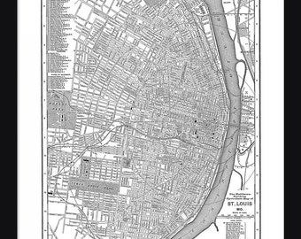 St. Louis Vintage Map - St. Louis - White - Print - Poster