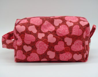 Glitter Hearts Bag, Valentine Bag, Zip Pouch, Ditty Bag, Toiletry Kit, Pencil Case, Candy Bag, Shave Kit, Travel Case, Makeup Bag