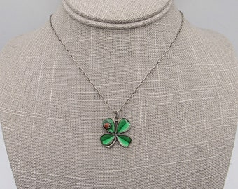 Catherine Popesco La Vie Parisienne enameled four leaf clover with ladybug silver tone signed vintage necklace