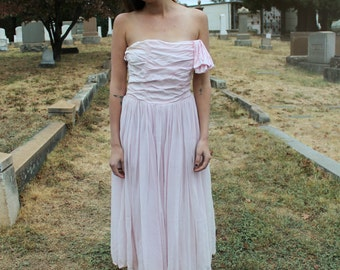 BLUSH Vintage 1950's Ballet Pink Gown Boudoir Dress Lace Trim Full Length