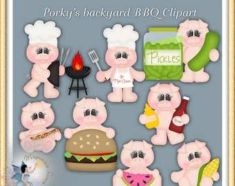BBQ Clipart, Porky's Backyard Barbecue, Summer Pig