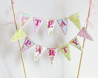 Tea Party Cake Bunting Topper - Floral Pink, Blue, Green - Birthday, Bridal Shower, Baby Shower