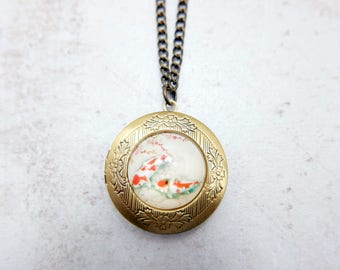 Koi Necklace, Kois locket, Fish Necklace, Fish locket, 2020m