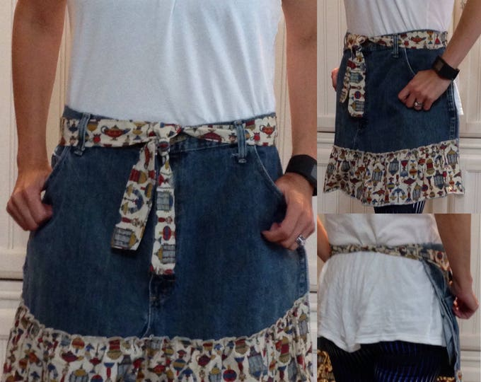 Denim half apron cotton vintage print ruffle pockets cotton vintage print ties long waist ties denim half apron repurposed denim apron
