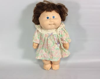 Cabbage Patch Kid Doll Vinyl Aqua Signature 1987 Girl Blue Eyes Brown Hair Vintage 1980s Toys Dolls 1980s Kid Childhood Adopted Dolls