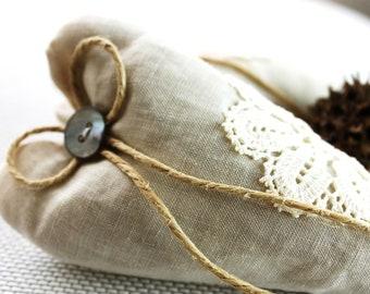 Two Linen Heart Shaped Lavender Sachet with Lace, Wedding Gift, Fragnance, Crochet, Natural Color, Bridal Shower, Decorative, Set of 2, Aura