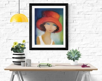 "Oil canvas printing abstract portrait art 16""x20"", fine art giclee print, modern abstract face painting, whimsical art for Mother's day gift"