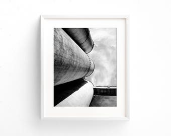 """black and white photography, industrial decor, large art, large wall art, fine art photography, photography print, clouds - """"Silos Trio"""""""