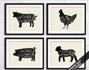 Beef, Chicken, Lamb and Pork (Butcher Diagram Series) - Set of 4 - Art Prints (Featured Vintage Chalkboard) Kitchen Prints