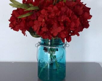 Red and Teal Mason Jar Floral Arrangement