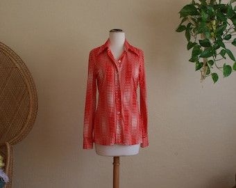 Vintage 70s wide collar disco retro red and white shirt