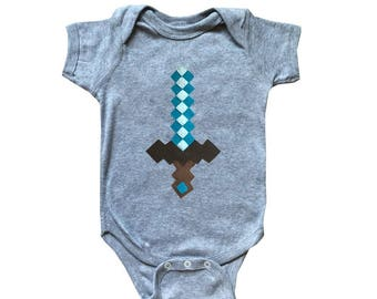 Diamond Sword - Minecraft Inspired - Baby Bodysuit - Children's Clothing - Gift
